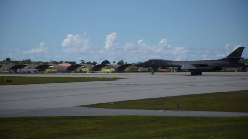 Two B-1B Lancers take off from Andersen Air Force Base, Guam for a training mission Aug. 11, 2017