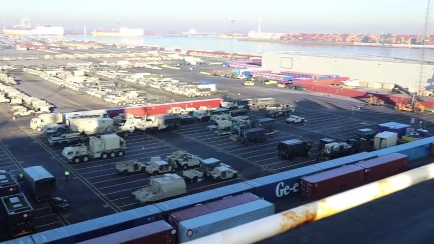 1st Armored Brigade Combat Team, 1st Infantry Division Arrives in Europe: Ship Offload